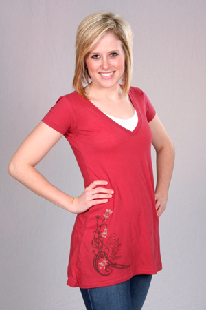 happy first red organic cotton tunic deep v-neck