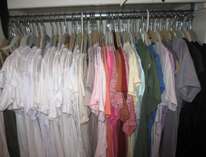 organized tees in closet