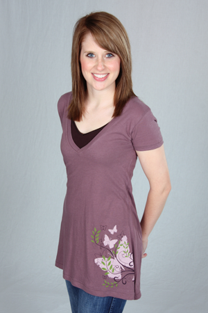 Organic Butterfly A-line Vneck tee