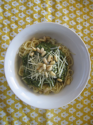 Basil Pesto over Angel Hair Pasta