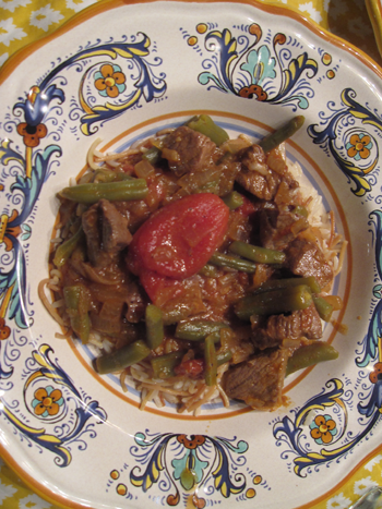 lebanese meat and green bean stew over rice